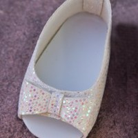 "Sparkly White Doll Shoes for 18"" Dolls"
