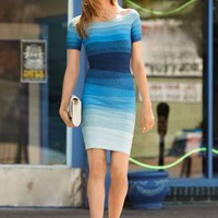 Short-Sleeve Ombre Blue Bandage Dress H427