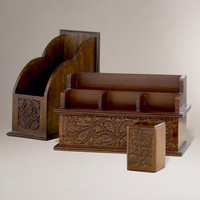 Carved Wood Desk Organizers