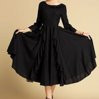 Lace bridemaid dress / Black dress (353)
