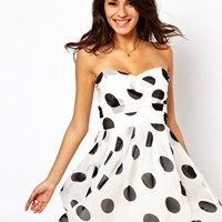 TFNC Pleated Chiffon Bandeau Skater Dress In Polka Dot Print at asos.com