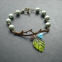 bare branch teal bracelet by Lana0Crystal on Etsy