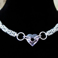 Pink Swarovski Crystal Sweetheart Chainmaille Choker - Adjustable Crystal Choker