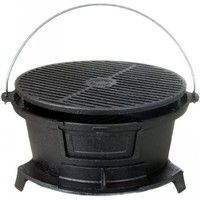 Cajun Cookware Grills Round Seasoned Cast Iron Hibachi Grill