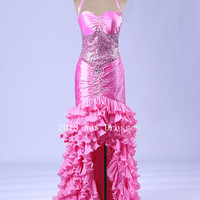 Pink Sheath Ruffled Halter Asymmetrical Taffeta Organza Beading Prom Dresses
