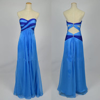 2013 Cheap New Style Strapless Sweetheart Chiffon Blue Prom Dresses