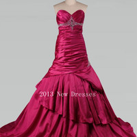 Fuchsia A-Line Sweetheart Court Train Elastic Silk-like Satin Prom Dresses