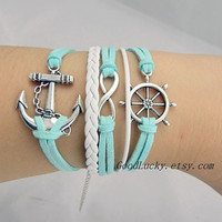 Silver anchor&rudder,infinity wish bracelet,light blue and white wax rope leather braided Friendship charm bracelet