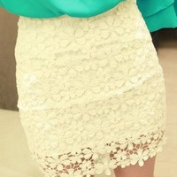 Lace with Floral Pattern Mini Skirt multi-color
