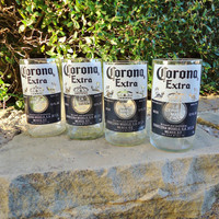 Recycled Corona Beer Bottle Glasses  Set of 4