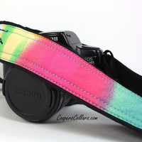 Watercolors 6 dSLR Camera Strap, One of a Kind, Pink, Orange, Yellow, Green, Blue