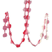 Crochet lariat scarf, Pink flowers, fashion scarf, necklace,   spring scarf