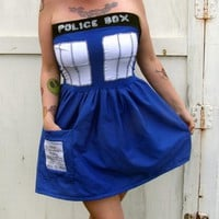 POLICE BOX mini dress Cosplay TARDIS inspired Doctor Costume Who prom from PoppysWickedGarden