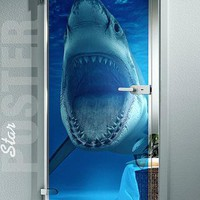 GIANT Door Window TRANSPARENT STICKER shark water ocean sea decole film poster by pulaton