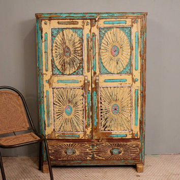 Antique Distressed Rustic Hand Carved Bright Turquoise Indian Cupboard