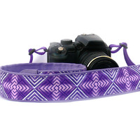 Purple Camera Strap. Geometric dSLR Camera Strap. Women accessories
