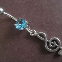 Treble Cleft Music Note Belly Button Ring Body Jewelry Piercing Teal Aqua