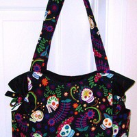 Colorful Floral Skulls Handbag, Shoulder Bag, Tote | DCRCreations - Bags & Purses on ArtFire