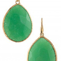 Gold &amp; Semi Precious Jade Drop Earrings | Jade Serentiy Stone Drop