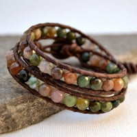 Earthy leather wrap bracelet. Boho chic beaded bracelet. Natural bracelet