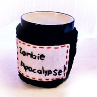 Zombie Apocalypse Coffee Cup Cozy Black and by JMcnallyDesigns