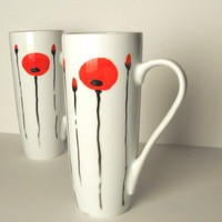 2 elegant white mugs with red poppies hand painted | dorisse - Housewares on ArtFire