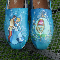 SALE Custom Painted Shoes Cinderella Prince Charming Pumpkin Coach Mice Glass Slipper TOMS VANS