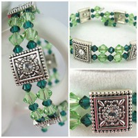 Dark and Light green Swarovski Crystal Memory Wire bangle bracelet