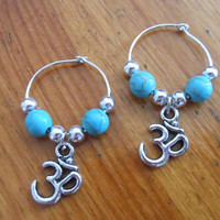 Silver Hoop Ohm Earrings - Beaded Hoop Earrings - Ohm Charm Hoop Earrings, Small Hoops Earrings - Om Earrings