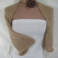 Knitted Short 3/4 Sleeve Camel Shrug Bolero Bridal Shrug Wedding Dress Bride Bridesmaid Shrug by Arzu&#x27;s Style