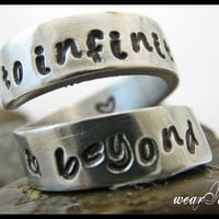 "Personalized Ring ""to infinity and beyond"" - Adjustable aluminum Wrap Ring..Custom Ring.. Hand Stamped.. Best Gift.. YOu WiLL LOvE iT"