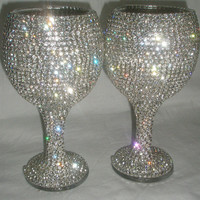 Custom designed handmade pair of wine glass, wedding, bride, groom, Swarovski, Czech rhinestones by Arzu&#x27;s Style
