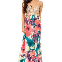 Reverse The Sequined Bustier Floral Maxi Dress : Karmaloop.com - Global Concrete Culture