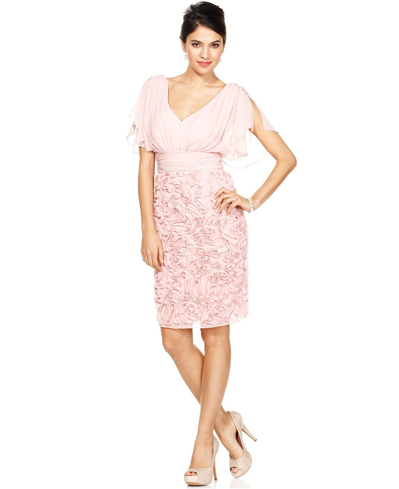 Js collections dress short split sleeve from macys for Macy s dresses for weddings