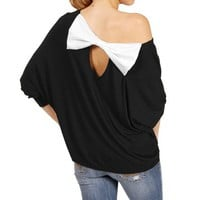 Black Off The Shoulder 3/4 Sleeve Top