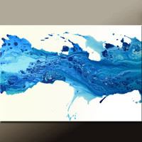 Abstract Canvas Art Painting 36x24 Original Modern Contemporary Blue Paintings by Destiny Womack - dWo - Sea of Emotion