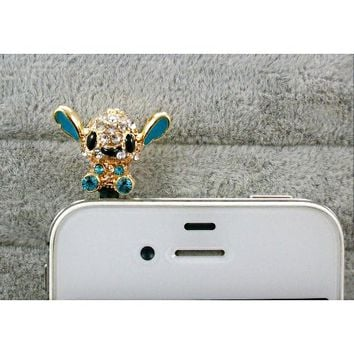 Dust Plug- Earphone Jack Accessories Crystel lake blue Disney Stitch / Cell Charms / Ear Jack for Iphone 4 4s / Ipad / Ipod Touch / Other 3.