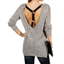 Black/White Long Sleeve T-Strap Sweater