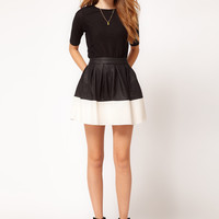 ASOS Skater Skirt in Leather Look