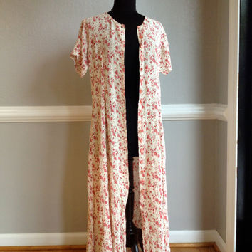 80s / 90s Floral Rose Shabby Grunge Boho Peasant Duster Maxi Festival Dress