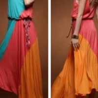 Spring Color Block Maxi dress w/tassel belt