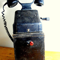 old telephone- antique phone black bakelite on wooden base- 20s- industrial home decor- office vintage design- Ericsson