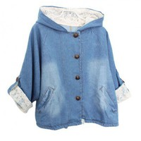 Retro Hooded Denim Coat with Lace Insert Details