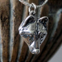 Little Wolf Face Necklace in Solid Sterling Silver - Just for the Girls