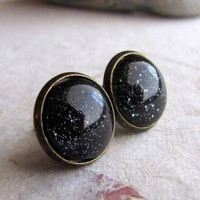Handmade Gifts | Independent Design | Vintage Goods Blackest Night Stud Earrings - Stud-Style Earrings - Earrings - Jewelry - Girls