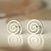 Silver simple spiral ring earrings