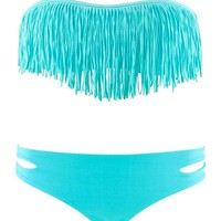 Fashion Women's Sexy Tassel Padded Bandeau Fringe Bikini Set 3 Colors to Choice