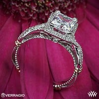 Platinum Verragio Princess Halo Diamond Engagement Ring