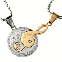 Fashion musical notes lovers necklace