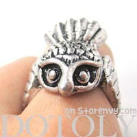 3D Cute Owl Animal Wrap Around Ring in Silver Sizes 5 to 8 ONLY